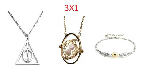 3x1 Collares Harry Potter Giratiempo Reliquia Muerte Snitch