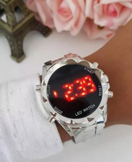 Relógio Digital Feminino Redondo Cor Prata