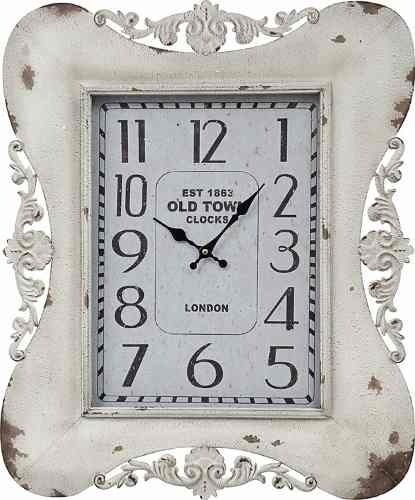 Relógio Classic Arabesco Branco Old Town 65x54x5,5