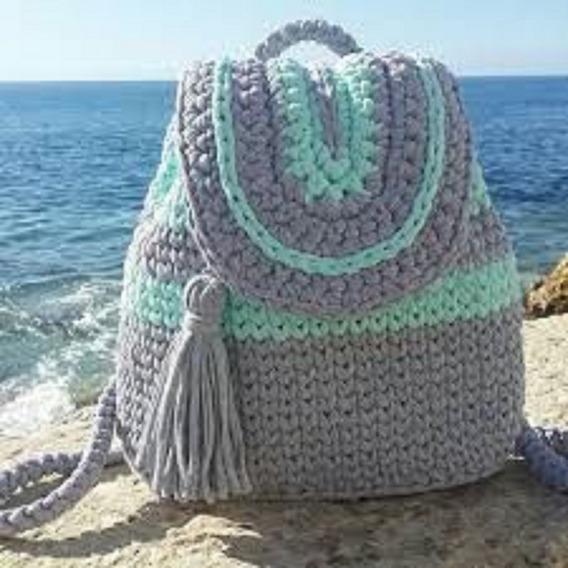 Bolso Playero Totoras Crochet Con Tapa Cierre