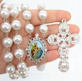 Terço De Noiva Banho Prata Sagrada Família