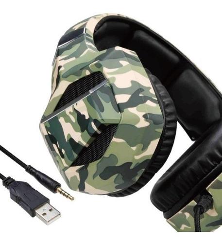 Imagem 1 de 5 de Headset Gamer Led Camuflado 7.1 P3 Usb Poucas Unidades