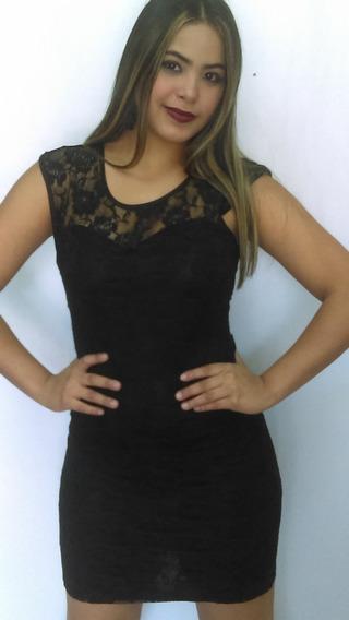 Vestido Corto Negro De Blonda Vestir Coctel Gala Talla M