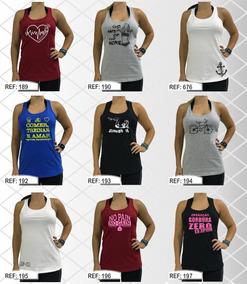 df789f003e 5 Regatas Feminina Algodão Fitness Nadador Kit Pronto 5uni