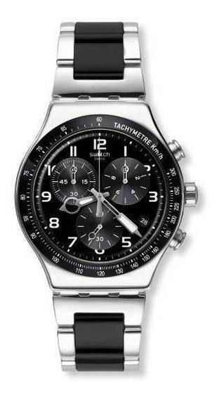 Relógio Swatch Speed Up Yvs441g Aço Preto E Prata Original