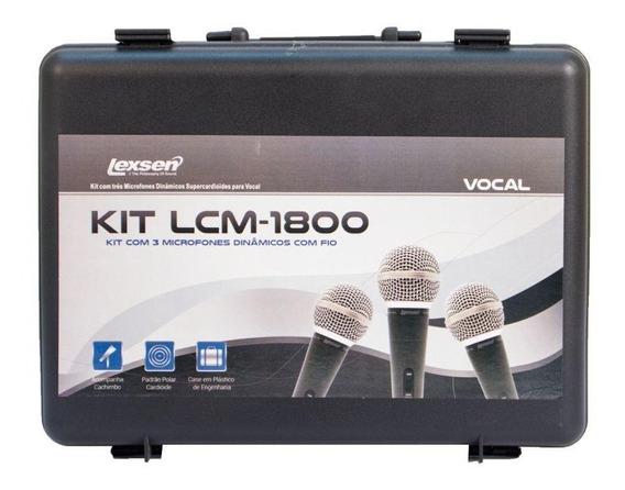 Kit Com 3 Microfones Profissionais Lexsen Kit-lcm1800