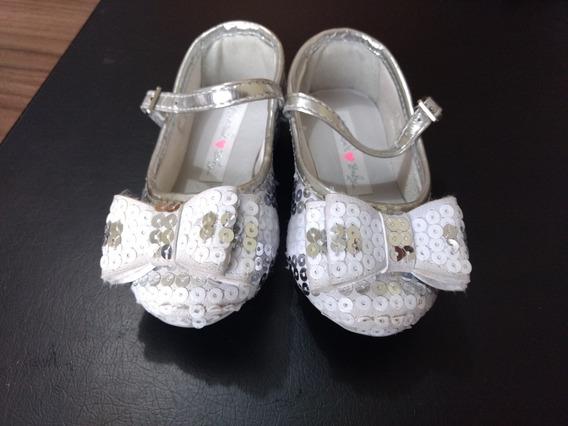 Sapato Infantil Menina Branco E Prata