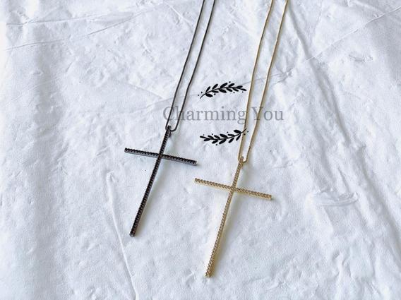 Kit 5 Un Colar De Crucifixo Ouro Folheado Microzirconia