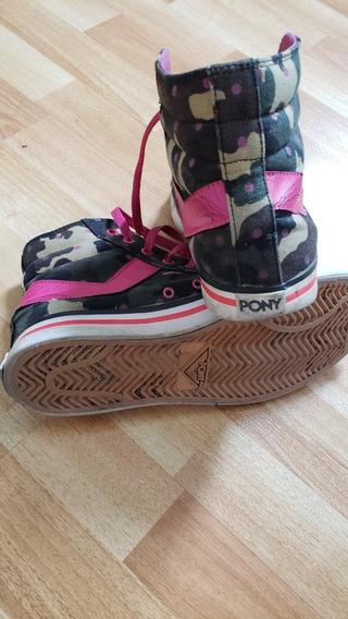 Zapatillas Botitas Pony Camuflaje C/detalles De Fuccia -t.39