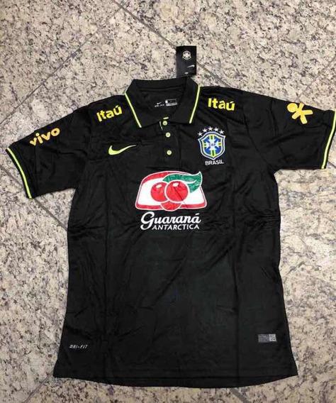 Camisa Polo Seleção Brasileira Cbf Preta !!!