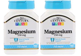 Magnésio 250 Mg 21st Century 2 X 110 Tabletes Importado Eua