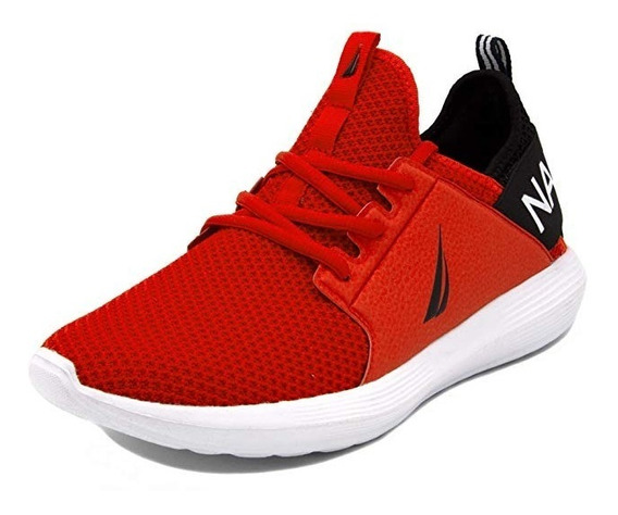 Nautica Lace Up Sneakers Fashion Tenis Casuales Rojos 27 Mx