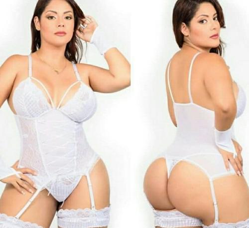 Lencería Conjunto Blanco Erótico Sexy Chicas Talla Grande