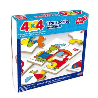 Rompecabezas De Madera 4x4 Transportes (4 Rompecabezas)