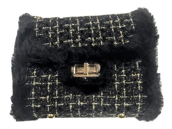 Bolsa Feminina Alça Corrente Dourada Tweed Mini Bag