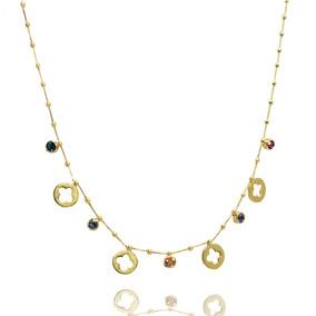 Colar Flores Mandala Color Zircônia Folheada Ouro 18k