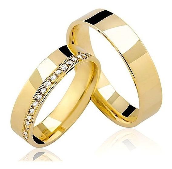 Par De Alianças Reta Com Diamantes