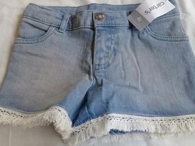 Short Jeans Rosa Coral Infantil Carters Importado Original