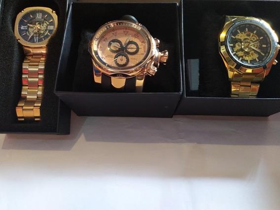 Kit 3 Relógios De Luxo Original Aço Inoxidável Automático