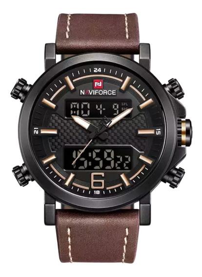 Relógio Naviforce 9135 Masculino Pulseira Couro Prova D