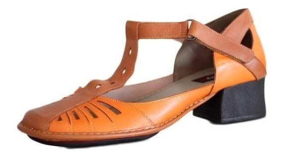 Sapato Feminino Confortável Em Couro Legítimo Laranja Ck0081