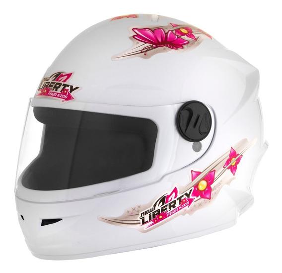 Capacete De Moto Feminino Infantil Liberty Four Girls Branco