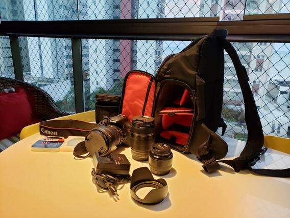 Canon T3i + Lente 18-135mm + Lente 17-50mm + Lente 50mm