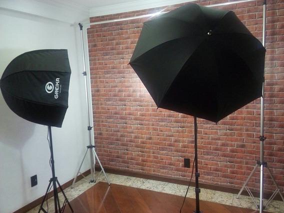 Kit Armação De Fundo Fotográfico + Softbox + Sombrinha Refle
