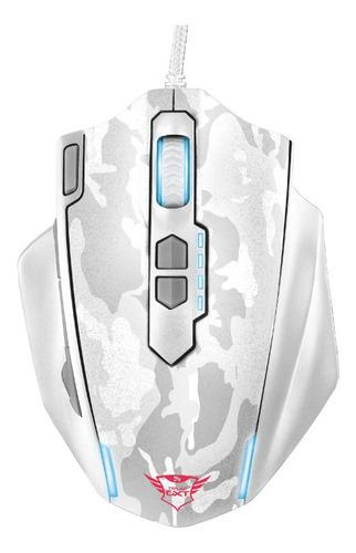 Mouse Gamer Trust Gxt 155w Branco Camuflado Moba Nf Garantia