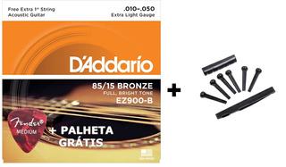 Kit 2 Corda Violão Aço Daddario Ez900 010 2 Kit 6 Pinos
