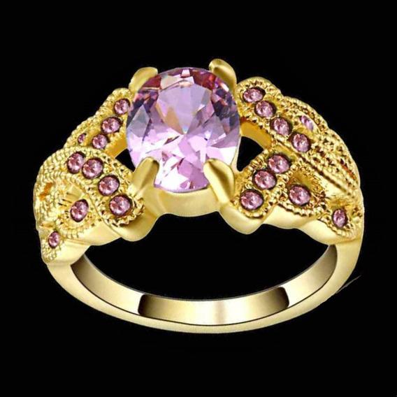 Anel Feminino Cravejado Cristal Rosa Beleza Laço Mulher 726
