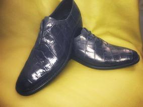 Zapato Piel De Cocodrilo Azul, Tipo Cuadra