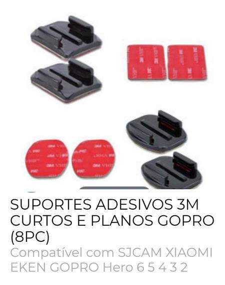 Kit Com 10 Suportes Adesivo 3m Gopro Curto E Planos 6/5/4/3