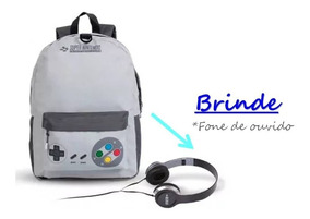 Mochila Vide Game Nintendo + Brinde Fone De Ouvido