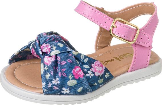 Sandalia Baby Floral Infantil Menina 008 (1 Par)