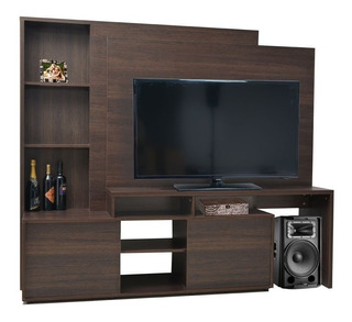 Centro Tv Platinum Negro/roble 2cj Cod: 005580 Proyectar