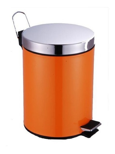 Cubo Cesto Basura A Pedal Color Naranja Tapa Acero 5 Lts