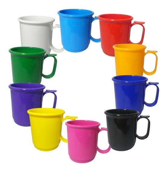Jarro Mug Plastico Taza X50 Recto 9cm Apoya Dedo Colores Asa