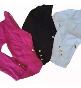 Kit 3 Blezer Feminino Bengaline Terninho Fashion Slim