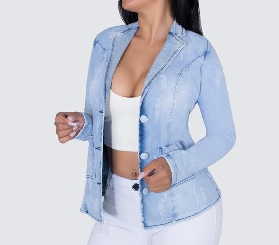 Jaqueta Social Feminina Jeans Pit Bull Original Com Strass 26305