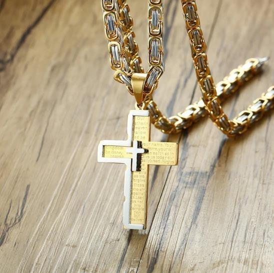 Corrente Masculina Cordão Colar Crucifixo Cruz Pingente Luxo