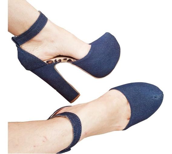 Sapato Meia Pata Frente Fechada Tornozeleira Com Fivela Grande Palmilha Onça - Várias Cores