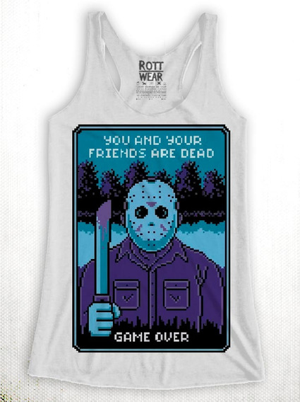 Friday 13th Jason Game Over Nes Pixel Tank Top Rott Wear