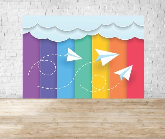 Fundo Fotográfico Em Tecido Newborn Aviões Paper E Craft