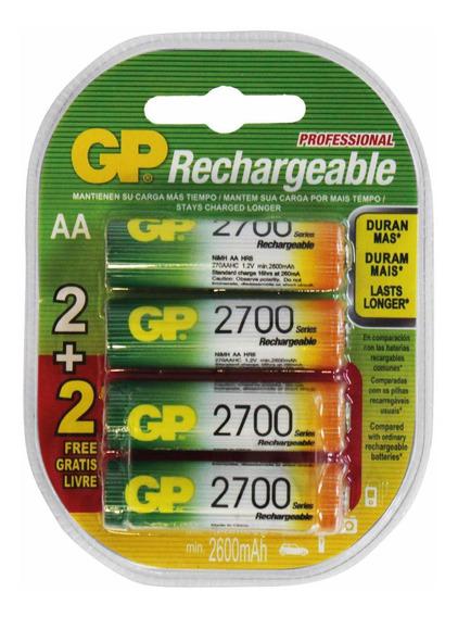 Pilhas Recarregáveis Aa 2700mah Blister 4 Pilhas Gp 1.2v