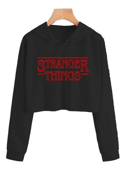 Cropped Feminino Stranger Things Serie Moletom Blusa Tumblr