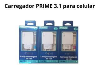 3 Carregador Celular Turbo Inova Prime Android V8 Usb 3.1