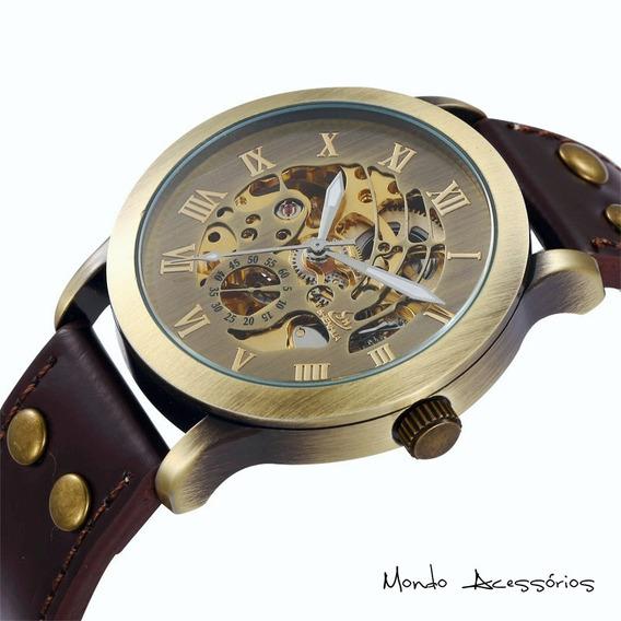 Relógio De Pulso Engrenagem Esqueleto Aberto Maquinário Aço