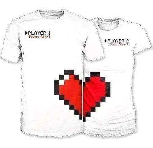 2 Playeras San Valentín P/ Enamorados Pareja Personalizada