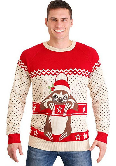 Suéter Navidad Ugly Sweater Hombre Oso Perezoso Mediano